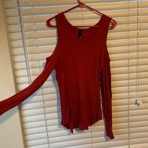 Red Bobi Cold shoulder top